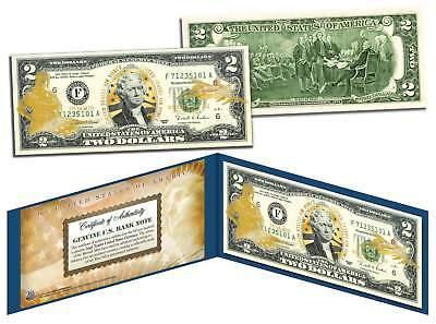 United States AIR FORCE $2 Bill U.S. Legal Tender GOLD LEAF Laser Line MILITARY
