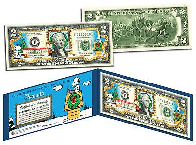 PEANUTS *Charlie Brown & Snoopy* CHRISTMAS Legal Tender U.S. $2 Bill *LICENSED* - Snoopy Peanuts