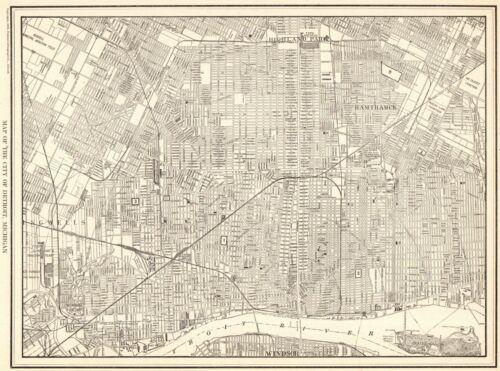 1928 Antique DETROIT Michigan Street Map Original City Map of Detroit  8933