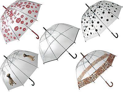 Regenschirm Schirm Fashion Line Transparent Kuppel-Schirm Stockschirm Regen NEU