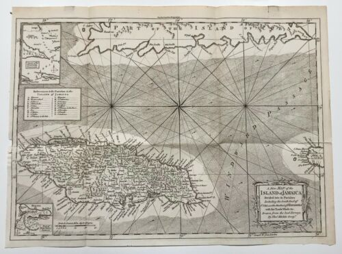 A New Map of the Island of Jamaica. Divided into Parishes. By Thomas Kitchen. 17