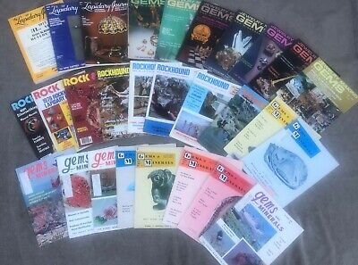 Lot of 28 old rockhounding magazines, lot 1, 60s, 70s, 80s
