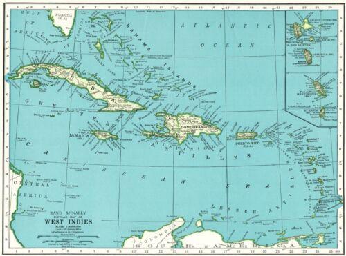 1943 Antique CARIBBEAN Map West Indies Map Cuba Puerto Rico Jamaica Map 8260