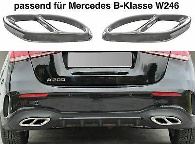 Set Chrom Edelstahl Auspuffblende Abdeckung für Mercedes B-Klasse W246