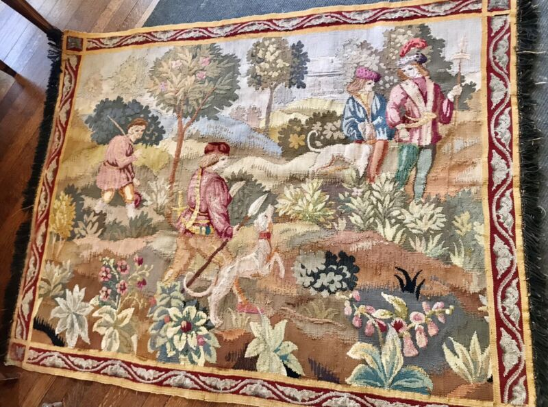 """Beautiful Antique French Aubusson Tapestry Panel - Hunting Scene 60""""X47"""""""