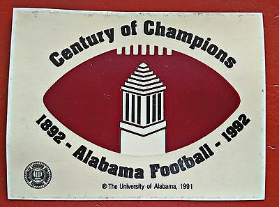 1992 ALABAMA FOOTBALL UNUSED CENTENNIAL STICKER  - RARE