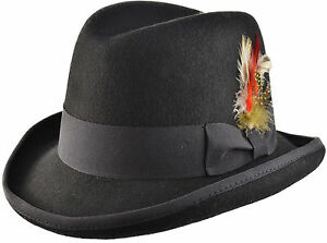 Black-Wool-Felt-Classic-Homburg-Godfather-Churchill-Hat-in-4-Sizes