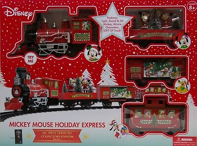 Christmas Disney Mickey Mouse Holiday Express 36 Piece Train set NIP