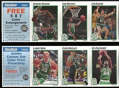 Boston Celtics 1991-92 OSCO DRUG 9-card Panel Team Set  Larry Bird  Reggie Lewis