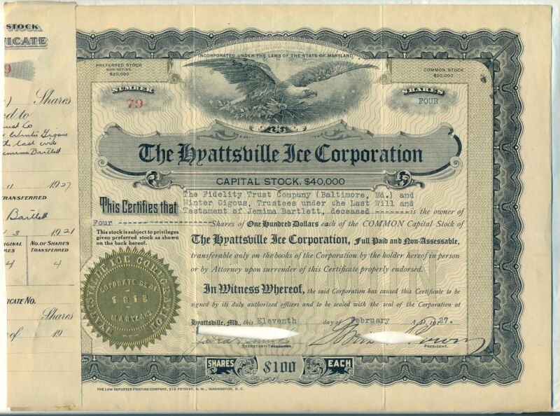 The Hyattsville Ice Corporation Stock Certificate Maryland