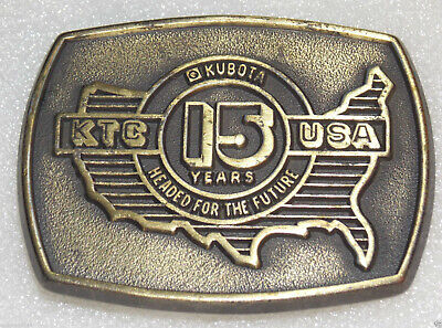 Kubota Usa 15 Years Belt Buckle Anniv Engine Heavy Equipment Tractor Backhoe