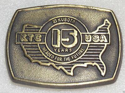 Kubota Usa 15 Years Belt Buckle Anniv Engine Heavy Equipment Tractor Backhoe