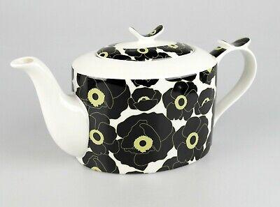 JAMESON&TAILOR Designer-Teekanne, Dekor schwarzer Mohn, Brillantporzellan, 1,5 l (Mohn Küche Dekor)