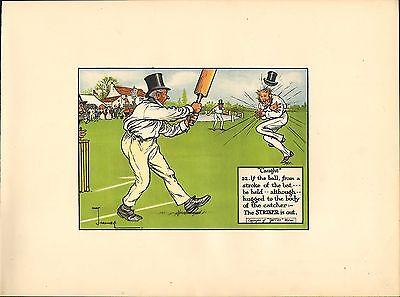 1905 laws of cricket  original colour print -  caught !