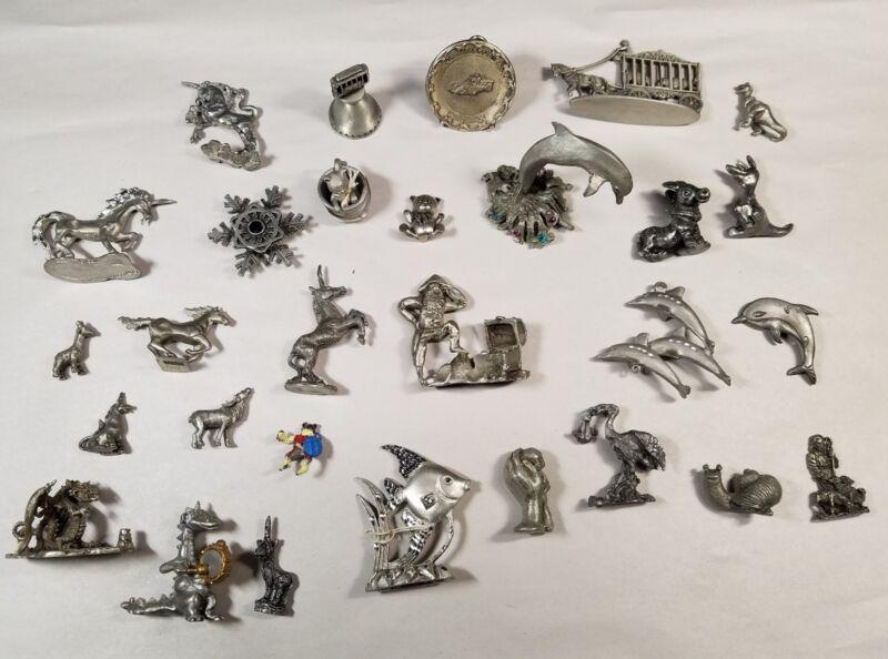 Lot 28 Pewter Figurines Unicorns Dolphins Dragons INDY 500 Animals Treasure Fish