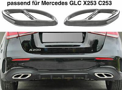 Set Chrom Edelstahl Auspuffblende Abdeckung für Mercedes GLC X253 C253