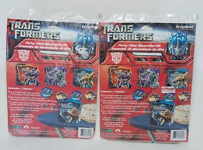 2008 Transformers Lot of 2 Party Kits - Banners- Centerpieces - Wall Decorations