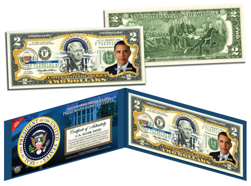 BARACK OBAMA *Presidential Series #44* Genuine Legal Tender US $2 Bill w/ Folio