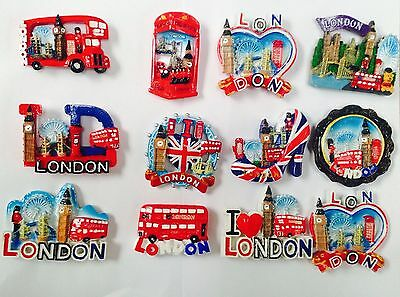 5 x I LOVE LONDON ENGLAND BRITISH UK FRIDGE MAGNETS SOUVENIR 3D CERAMIC SET NEW