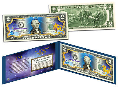 Leo   Horoscope Zodiac   Genuine Legal Tender Colorized U S   2 Bill