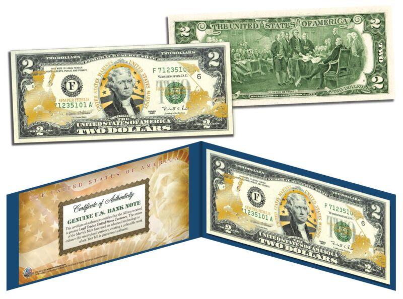 United States MARINES $2 Bill Genuine Legal Tender GOLD LEAF Laser Line MILITARY