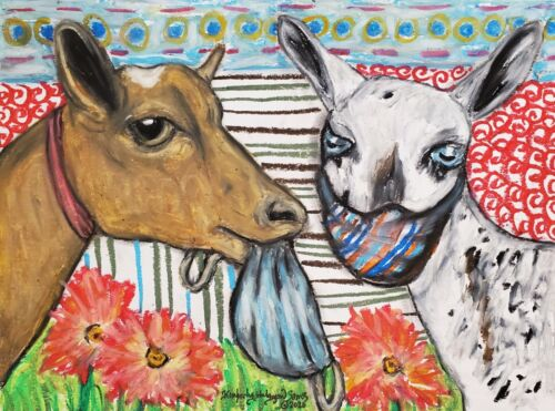 Nigerian Dwarf Quarantine 13x19 Art Print Goat Collectible Signed Artist KSams