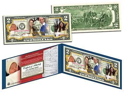 PRINCESS CHARLOTTE of Cambridge Colorized US $2 Bill - Prince William & Kate