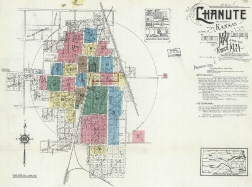 Chanute, Kansas~Sanborn Map© sheets~ with 101 maps on a CD in color~PDF files