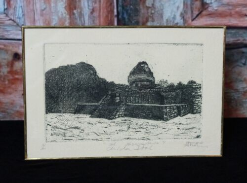 Etching Mayan Observatory El Caracol at Chichen-Itza Mexican Folk Art by Abelar