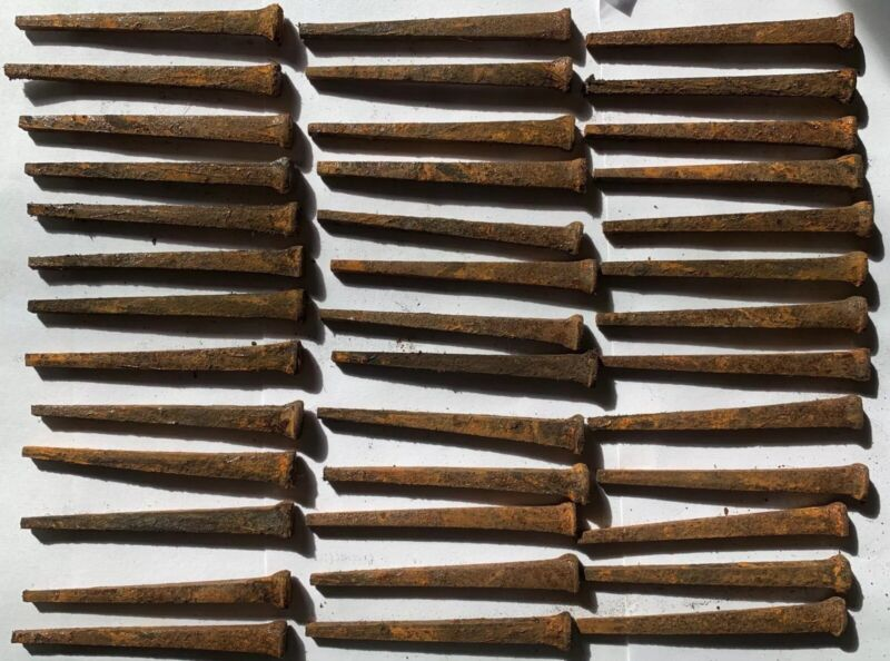Lot of 39 Rusty Cut Wrought Iron Flat Head Nails