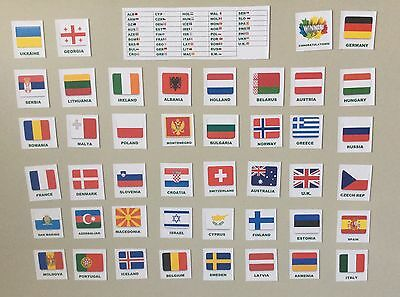 Eurovision 2017 Party Flag Magnets Sweepstake Kit - all 43 Countries+ Score Card