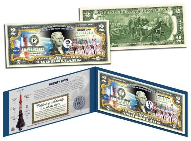 MERCURY SEVEN ASTRONAUTS Colorized $2 Bill U.S. Legal Tender NASA The Original 7