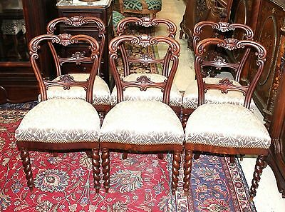 (Set of 6 Antique Victorian Round Back Dining Room Chairs New White Upholstery )