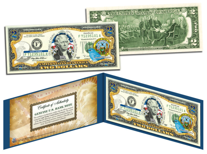 IDAHO $2 Statehood ID State Two-Dollar U.S. Bill *Legal Tender* SPECIAL PRICE
