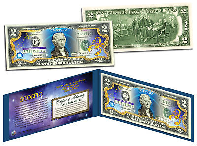 Scorpio   Horoscope Zodiac   Genuine Legal Tender Colorized U S   2 Bill