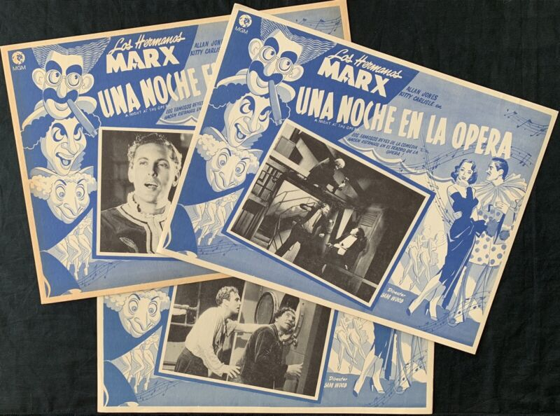 A NIGHT AT THE OPERA The Marx Brothers (3) MEXICAN LOBBY CARDS