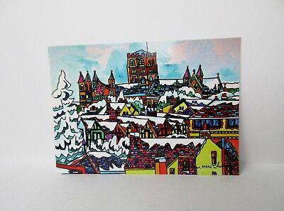 POSTCARD 6 X 4  SNOWY ST ALBANS ABBEY TOWN VIEW  BY ANN MARIE WHITTON