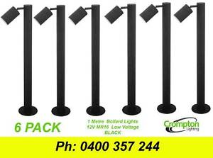 6 X Black 1 Metre Diy Garden Adjustable Bollard Lights 12v Mr16
