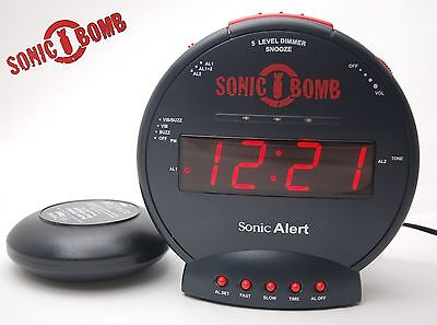 Sonic Bomb 113dB Wecker sehr laut Vibration Kissen Boom  Alarm Alert clock