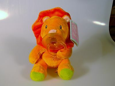 Russ Baby Lion Plush Stuffed Animal Toy Soft Removable Pacifier New Shower Gift