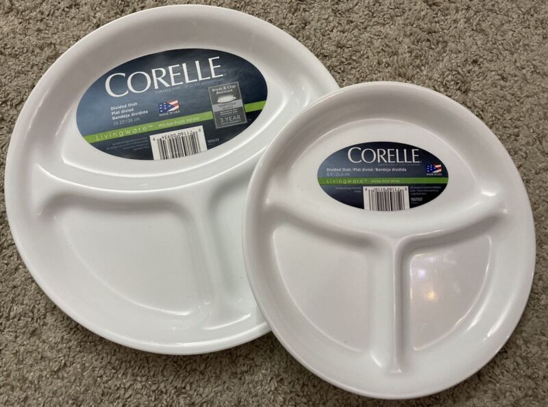 """8.5"""" or 10.25"""" Corelle Classic Winter Frost White Divided Dish 3 Compartment NEW"""