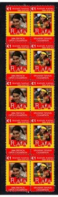 RAFAEL NADAL SPAIN TENNIS MINT VIGNETTE STAMPS FRENCH OPEN WIN 2