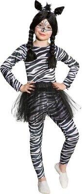 Mädchen Zebramuster Tutu Wildes Tier Dschungel Safari Büchertag Kostüm Kleid