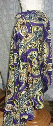 African  Print High Waist Skirt High-Low With Belt L/XL