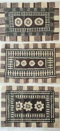 Vtg Original Folk Art TAPA Cloth Bark Cloth FIJI LOT of 3 * Tribal BOHO 70