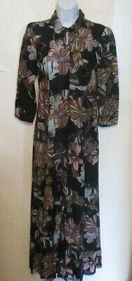 ZARA size Small S Black Floral Boho Semi Sheer Gauze Long Sleeve Dress j230