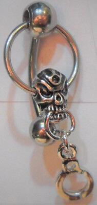 Surgical Steel Barbell Dangle Skull Handcuffs VCH Clitoral Clit Hood 14 gauge