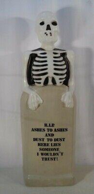 """VTG Empire 35"""" Lighted Skeleton & Gravestone RIP Halloween Plastic Blow Mold"""