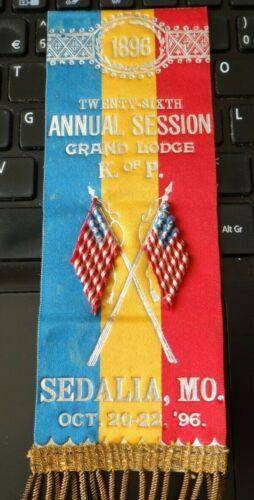 1896 Vintage Knights of Pythias Sedalia MO Grand Lodge Annual Session Ribbon