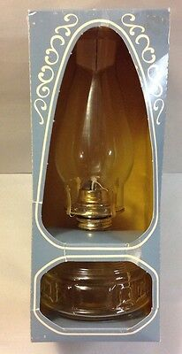 Vintage Lamplight Farms Clear Glass Oil Base Lamp Light Sconce Lantern New